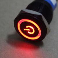 19mm 12V KFZ Schalter Drucktaster Taster Druckschalter LED Beleuchtet Rot HY