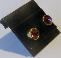 boucles d'oreilles bijou rétro clous couleur or solitaire cristal améthyste 2724