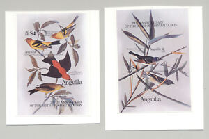 Anguilla #617-618 Audubon, Birds 2v S/S Imperf Proofs on Cards