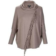 Marble Sweater With Diagonal Fringe Beige Large TD083 AC 05