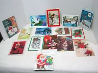 15 Vintage Greeting Card Christmas 1950-80s Cat Candles Snow Houses Santa O18B