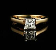 LEO SCHACHTER PRINCESS NATURAL .57ct VS1/I DIAMOND 14K GOLD ENGAGEMENT RING