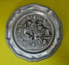 Vintage German pewter decorative plate, angel with trumpet mark
