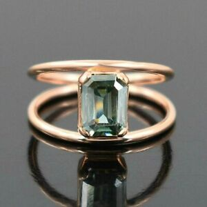 2.45 Ct AAA Certified Blue Diamond Ring in Rose Gold - Very Elegant Luster