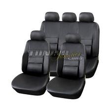 Leder Kunstleder Sitzbezug Sitzbezüge Schwarz Lordose passend für VW Seat Skoda