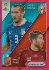 2014 Panini Prizm World Cup Matchups Red Prizm  #22  Chiellini , Ramos  #17/149