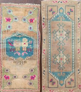 Set of 2 Vintage 2'x3' Peach/Blue/Pink Authentic Oushak Turkish Rug Hand-knotted