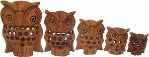 Decorative Wooden Undercut Hand Carved Owl Set of 5 Pcs
