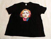 Three In Men's Short Sleeve Face Design T-Shirt NB7 Black Size 2XL NWT