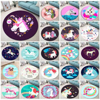 Cute Dreamy Round Area Rugs Home Non-Slip Mat Unicorn Theme Baby Crawling Carpet
