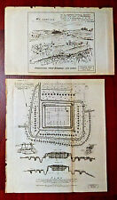 2 Original 1902 Philippines Spanish American War Pandapatan Military Fort Plans
