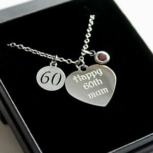 ENGRAVED Birthstone Necklace Charm Personalised 30th 40th 50th 60 Birthday Gifts