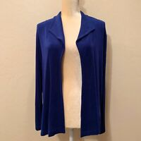 Chico's Travelers 2 Blue Slinky Knit Open Front Cardigan Women's Size Large