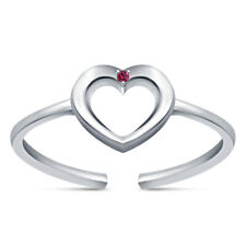 Adjustable Toe Ring 14k White Gold Over 0.11 Ct Women Round Pink Sapphire Heart