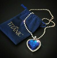 Titanic Heart of the Ocean Blue Heart Love Crystal Pendant with Silver Necklace