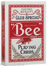 """Bee"" Standard Red Deck Playing Cards Poker Size USPCC Casino Quality New Sealed"