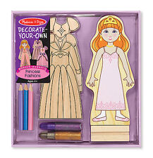 Melissa and Doug Decorate-Your-Own Princess Fashions Wooden Magnetic #4182- New