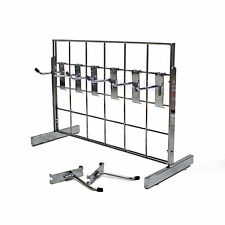 "Counter Standing 2 Way Chrome Grid Panel Display With 8x 4""Sing Hooks (E3MINI/1)"