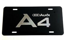 Audi A4 LOGO Diamond Etched on Black Aluminum License Plate