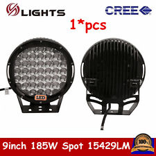 9inch 185W CREE LED Round Work Light Spot Off-road Fog 4WD UTE Jeep Ford Black