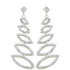 Bridal Diamante Shiny Long Drop Dangle Earrings Jewellery for Weddings E574