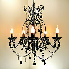 LARGE BLACK CHANDELIER ACRYLIC CRYSTALS SHABBY PARIS 5 ARM METAL CEILING LIGHT