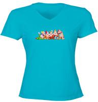 Juniors Girl Women Tee T-Shirt Snow White 7 Dwarfs Group Bashful Sneezy Sleepy