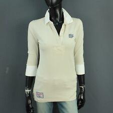 Superdry Damen Gr. S 36 Shirt Pullover Beige Creme Stehkragen A6160