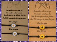 2PCS Sunflower Daisy Friendship Charm Card Wish You Me Promise Bracelet