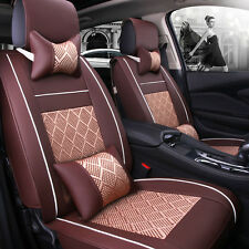 Durable Coffee Car PU Leather+Mesh Seat Cover Front+Rear+Pillow For Honda Toyota
