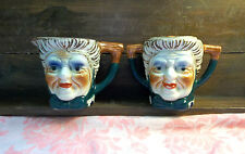 Vintage Ceramic Toby Old Man and Woman Pottery Sugar w/Lid and Creamer Set Japan