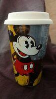 Disney Ceramic Mickey Mouse Travel Coffee Mug Cup Tall 8oz
