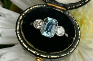 Vintage Style Art Deco Aquamarine & Diamond Ring 14K White Gold Over Silver