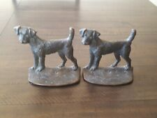 Vintage Bookends Dog Terrier,Airedale,Fox,Wels h bronze