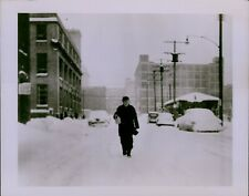 GA43 1954 Original Photo CLEVELAND DONS A WINTER BLANKET Ohio Snow Storm Piles