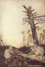 Alice In Wonderland and White Rabbit Arthur Rackham Art Print Poster Picture A4