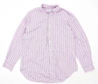 TM Lewin Mens Size XL Cotton Striped Purple Formal Shirt