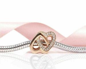 Genuine Pandora Rose Gold ALE R Entwined Hearts Charm 781880CZ