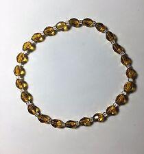 """Celestial Crystal Stretch Ankle Bracelet - Oval Gold Beads - 10"""""""