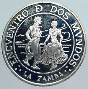 1997 ARGENITINA Authentic VINTAGE Zamba Dance Proof Silver 25 Pesos Coin i90032