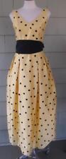 NWT Chetta B yellow black polka dot party full long skirt silk dress sze 4