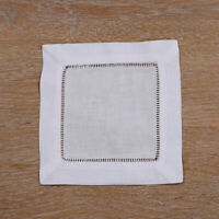 12 pieces White Linen/Cotton Hemstitched Cocktail Napkins  Cloth Coasters