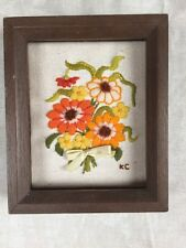 Vintage Embroided Handcrafted Framed Picture Flower Bouquet Orange Green Signed