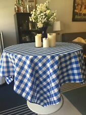 6 Blue Gingham Table Cloths, 4 Runners, 2 small basket-sized pieces