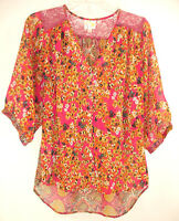 Anthropologie Fig & Flower Boho Tunic Blouse Peasant Floral Semi-Sheer Lace Sz M