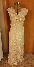 NEW Marina Sz 6 Champagne Lace Long Formal Gown Dress Mother of the Bride Bead