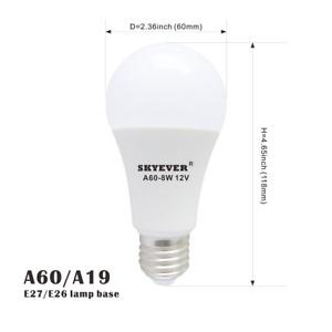 2 Pack Led Lamp A19(A60) Bulb 12V/24V E26 8W White,Low Voltage,General Lighting
