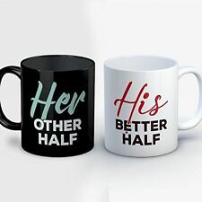 Couples Coffee Mug - Her Other Half His Better Half - Cute 11 oz Black/White Cer