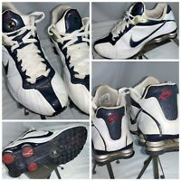 Nike Shox NZ Sz 11 Men White Leather Blue Running Shoes Mint Cond YGI I0S-15