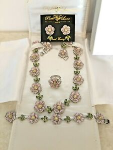 Park Lane Jewelry FLORAL FANTASY Pink Set Necklace Earrings Bracelet Ring